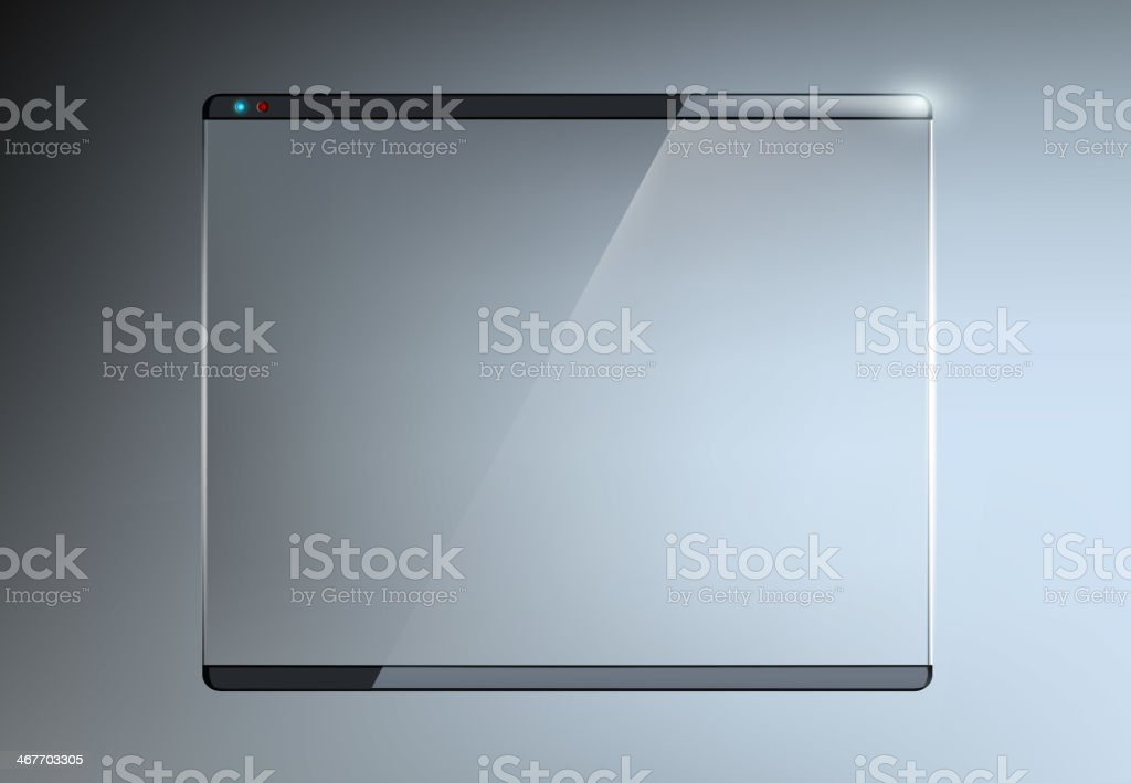 Transparent touch screen with glass vector art illustration