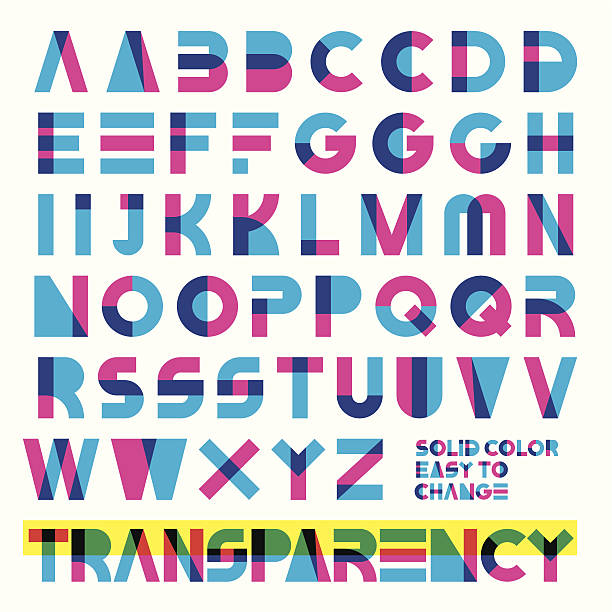 transparent typeset typeset in primary colors transparency. solid colors easy to change. alphabet patterns stock illustrations