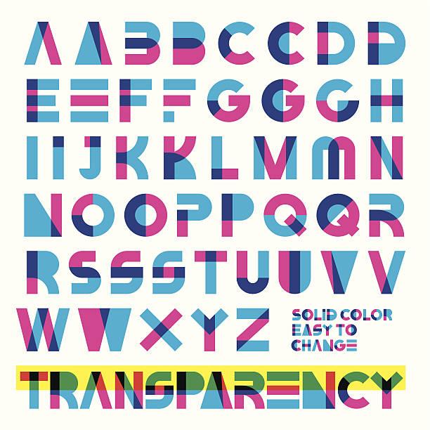 transparent typeset - alphabet patterns stock illustrations