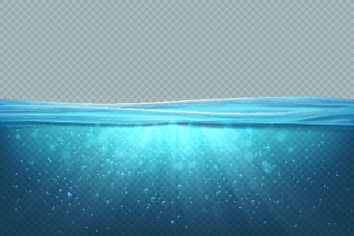 Transparent underwater background. Realistic blue sea water surface, 3D ocean pool lake deep wave concept. Marine