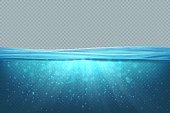 Transparent underwater background. Realistic blue sea water surface, 3D ocean pool lake deep wave concept. Marine vector illustration