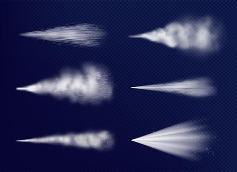 Transparent vapor. Chemical beauty water spray cosmetics decent vector set