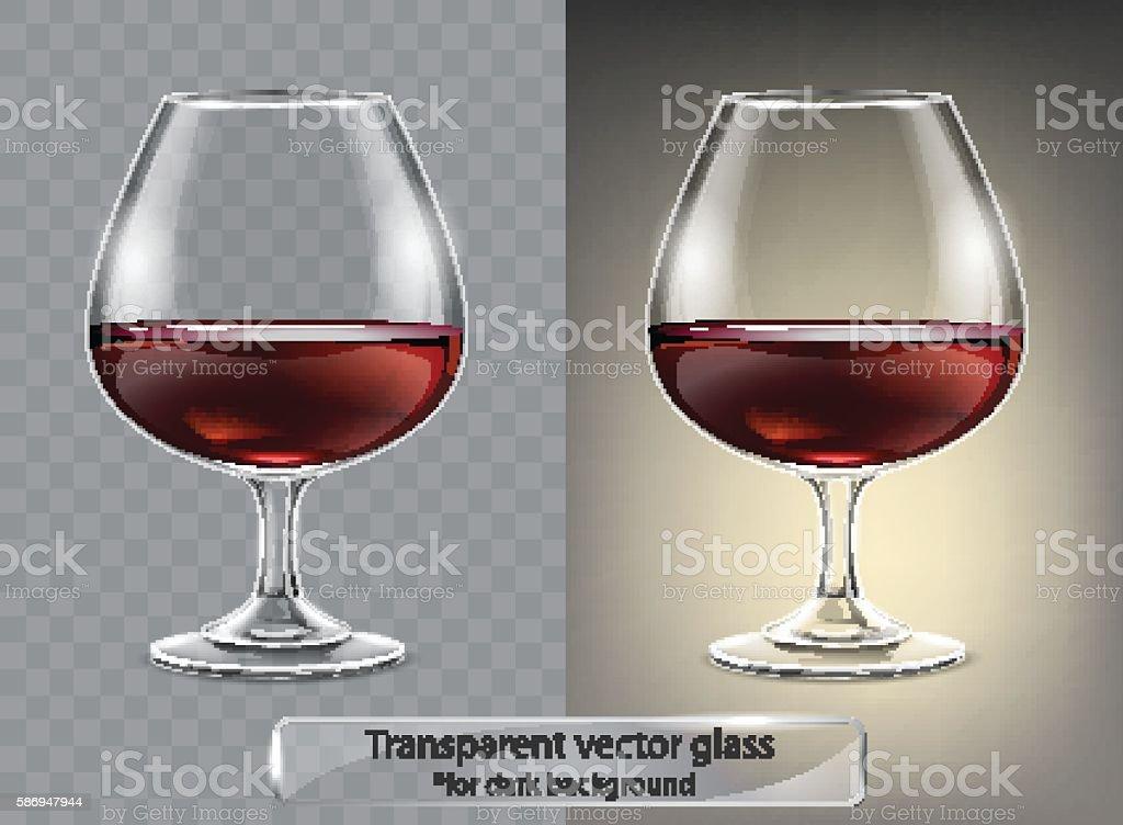 Transparent vector glass goblets cognac for dark background. Brandy sniffer vector art illustration