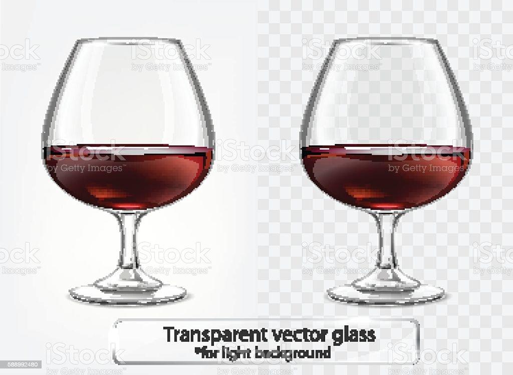 Transparent vector glass goblets cognac for light background. Brandy sniffer vector art illustration