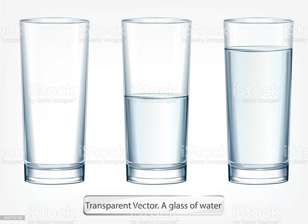 Transparent vector glass of water on light background vector art illustration