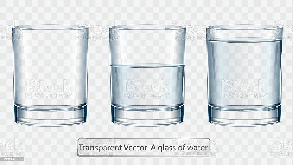 Transparent vector glass of water on light background vector art illustration