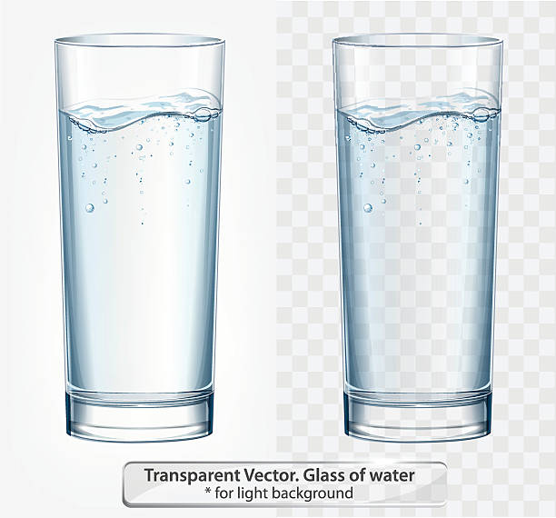 transparent vector glass of water with fizz on light background - 유리잔 stock illustrations