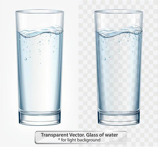 bildbanksillustrationer, clip art samt tecknat material och ikoner med transparent vector glass of water with fizz on light background - glas