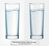 Transparent vector glass of water with fizz on light background