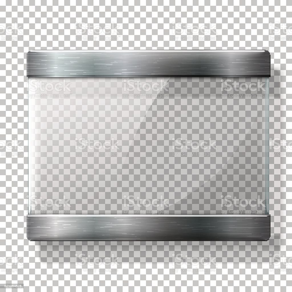 Transparent vector glass plate with metal holders, for your signs vector art illustration