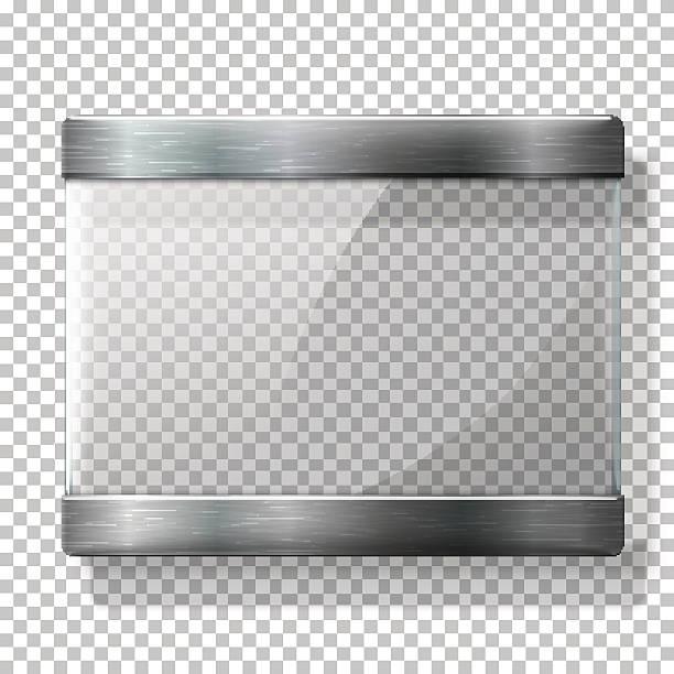 transparente vektor glasplatte mit metall-mitglieder, für beschilderung - nagelplatte stock-grafiken, -clipart, -cartoons und -symbole