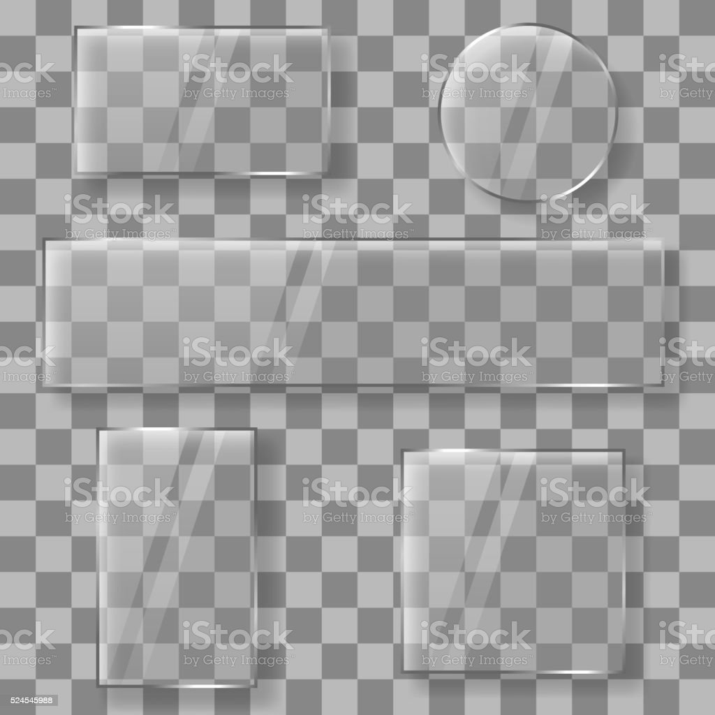 Transparent vector glass plates banners on plaid background vector art illustration