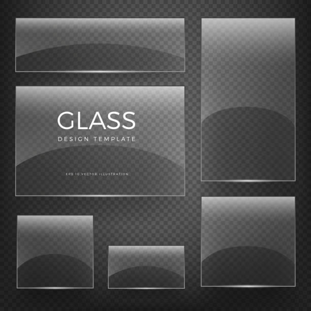 transparent vector glass vertical and horizontal banners - glasteller stock-grafiken, -clipart, -cartoons und -symbole