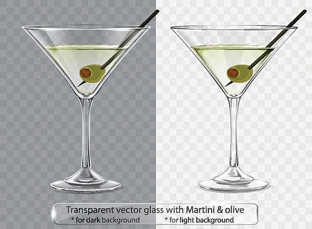 Transparent vector glass with Martini and olive Transparent vector glass with Martini and olive for dark and light background martini stock illustrations