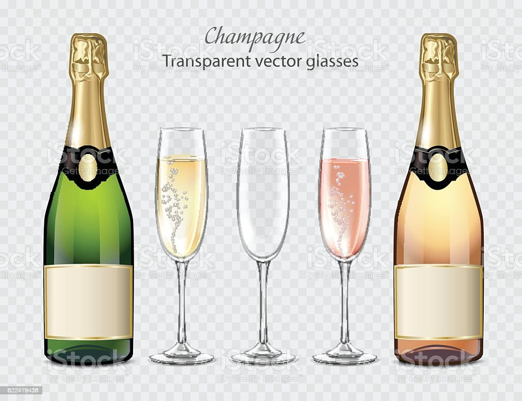 Transparent vector glasses and bottles of champagne and empty glass vector art illustration