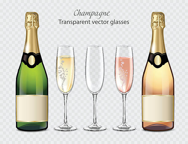 transparent vector glasses and bottles of champagne and empty glass - champagnerglas stock-grafiken, -clipart, -cartoons und -symbole