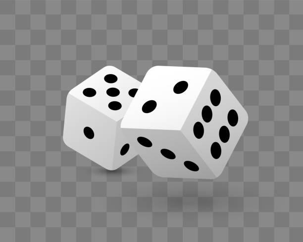 illustrazioni stock, clip art, cartoni animati e icone di tendenza di transparent vector illustration of dice - gioco dei dadi