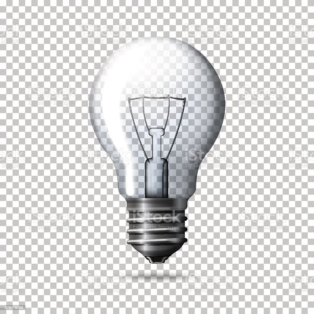 Light Bulb Wallpaper: Transparent Vector Realistic Light Bulb Isolated On Plaid