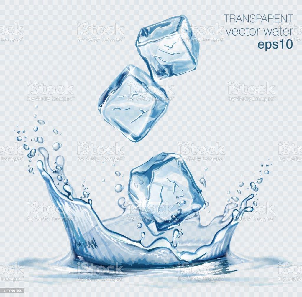 Transparent vector water splash and ice cubes on light background transparent vector water splash and ice cubes on light background - immagini vettoriali stock e altre immagini di acqua royalty-free