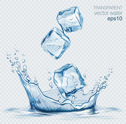 Transparent Vector Water Splash And Ice Cubes On Light Background - Immagini vettoriali stock e altre immagini di Acqua