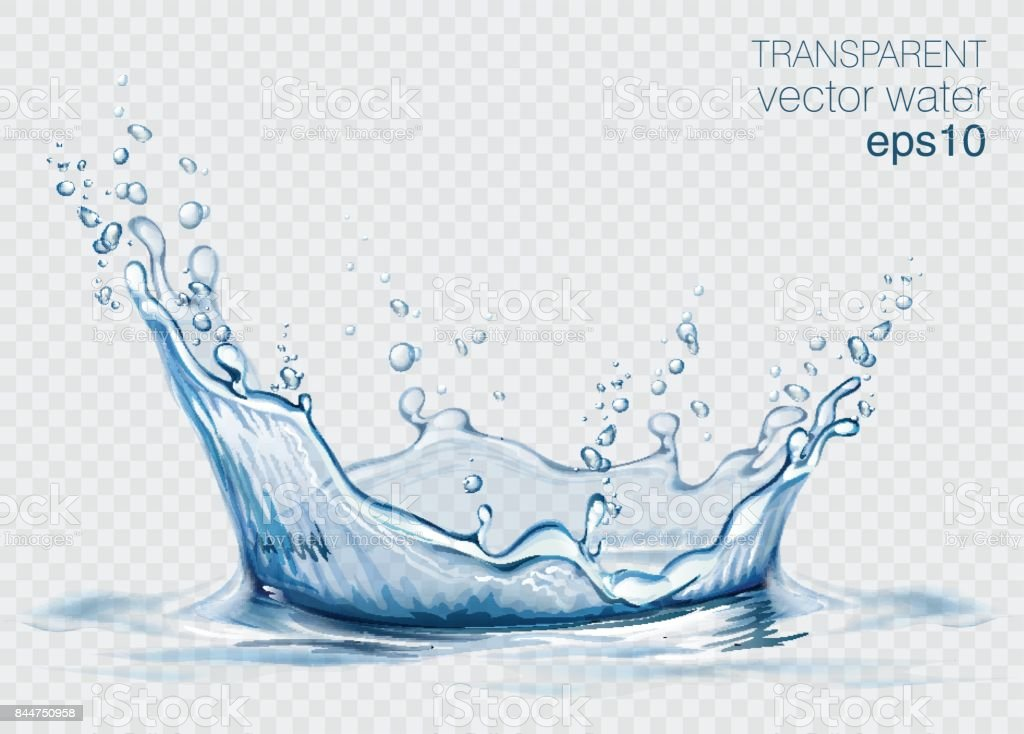 Transparent vector water splash and wave on light background vector art illustration