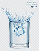 Transparent vector water splash in glass of water on light background
