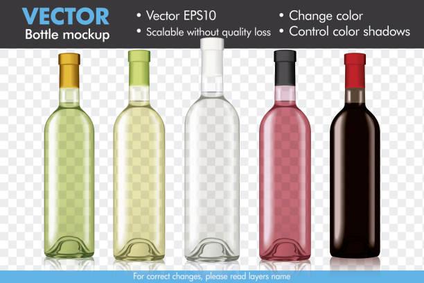 bildbanksillustrationer, clip art samt tecknat material och ikoner med transparent vektor vinflaska mockup, ändra färg och färg skuggor - vitt vin glas