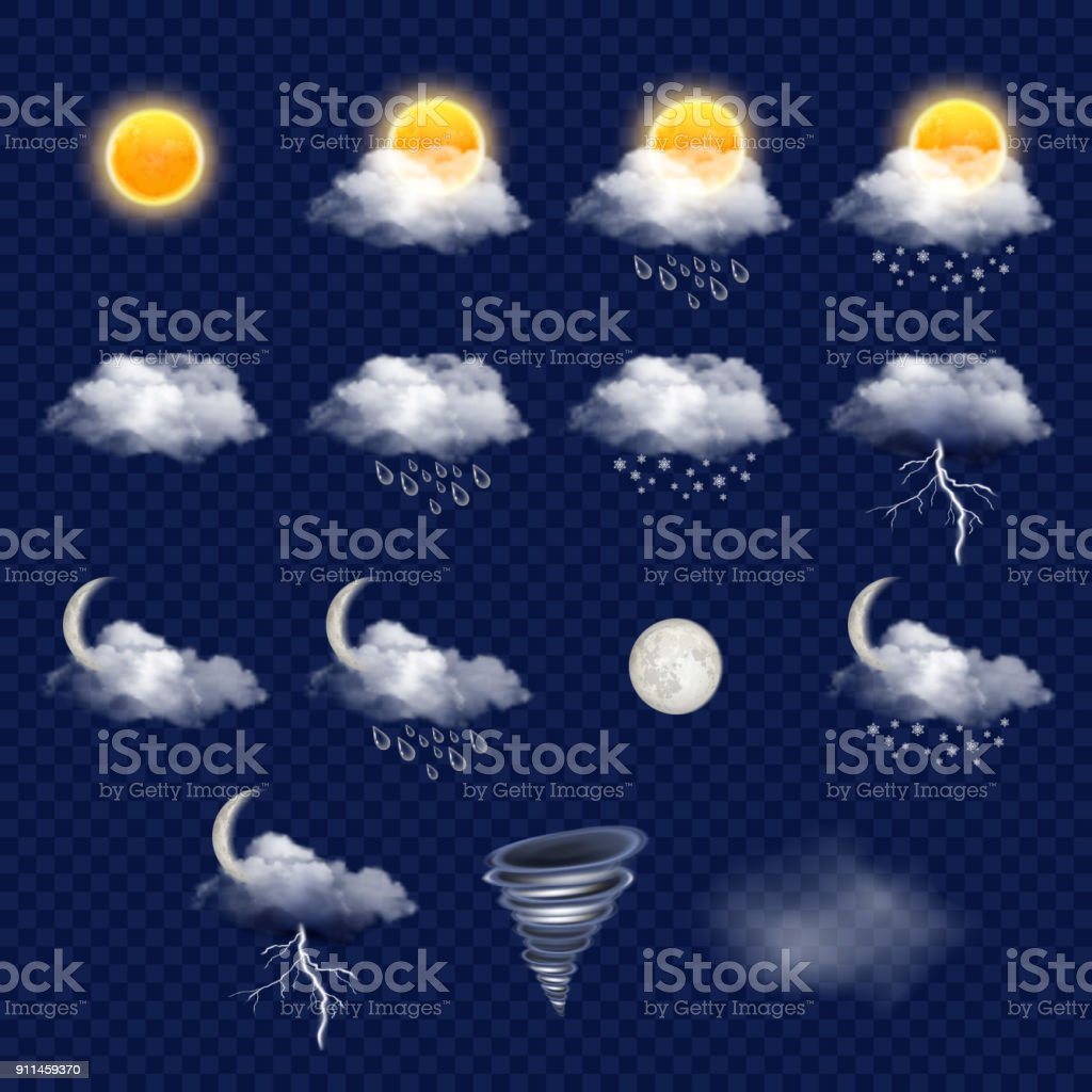 Transparent weather forecast icon set, vector realistic illustration - Royalty-free Bright stock vector