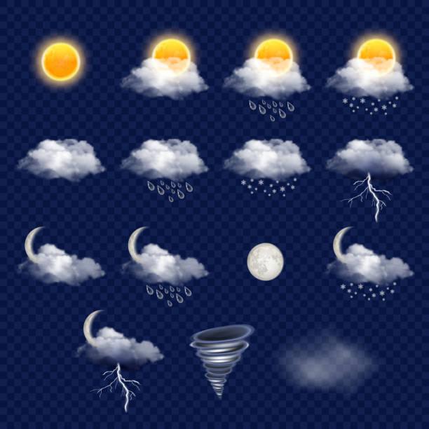 透明天氣預報圖示集, 向量逼真插圖 - 天氣 幅插畫檔、美工圖案、卡通及圖標