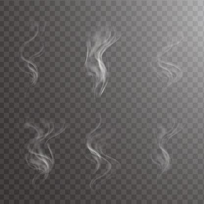 Transparent white steam over cup on dark background background vector illustration.