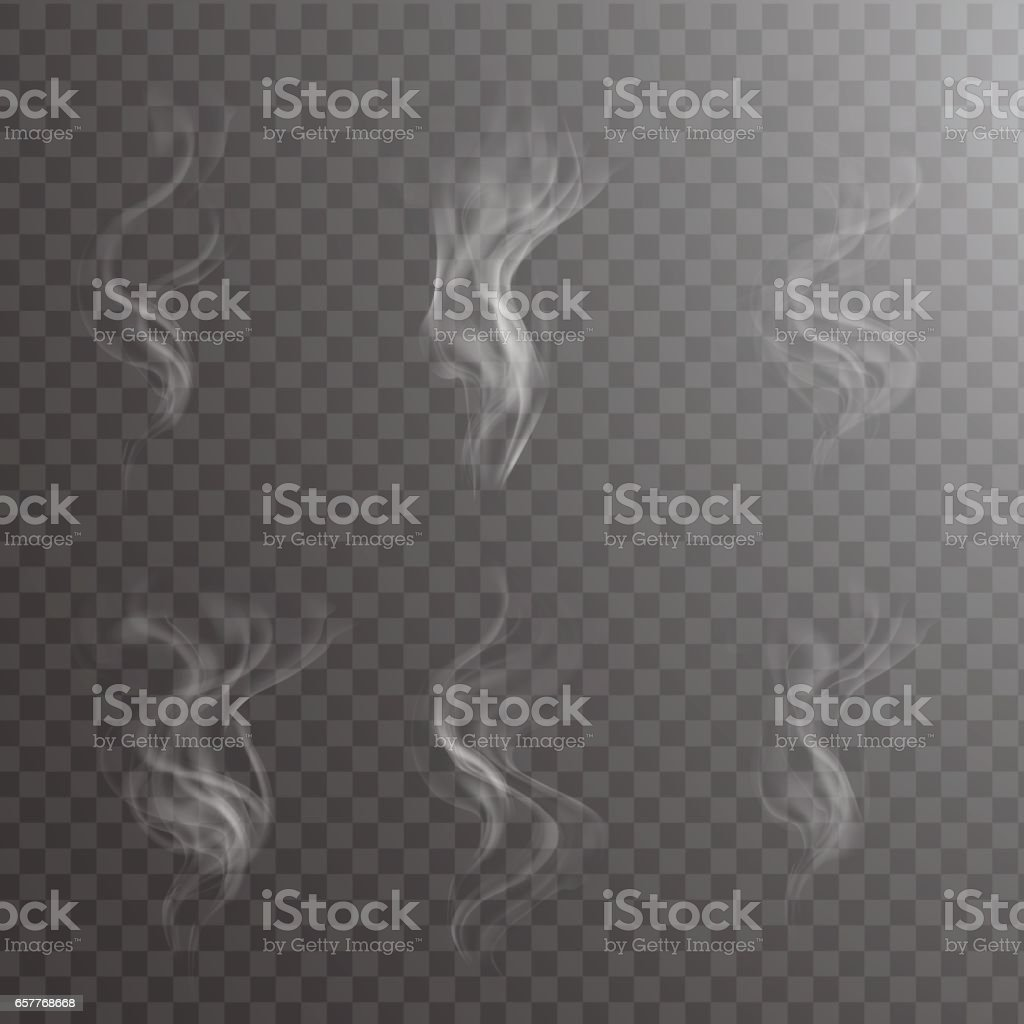 Transparent white steam over cup on dark background background vector illustration. vector art illustration