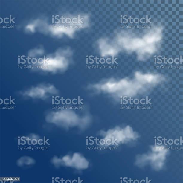 Прозрачные Белые Векторные Облака — стоковая векторная графика и другие изображения на тему Абстрактный