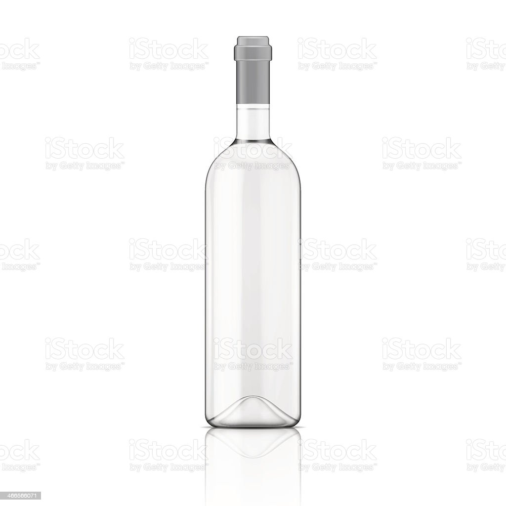 Transparent wine bottle. vector art illustration