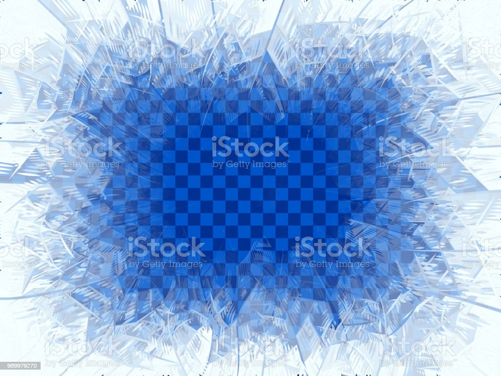 Transparent winter blue frost window with copy space