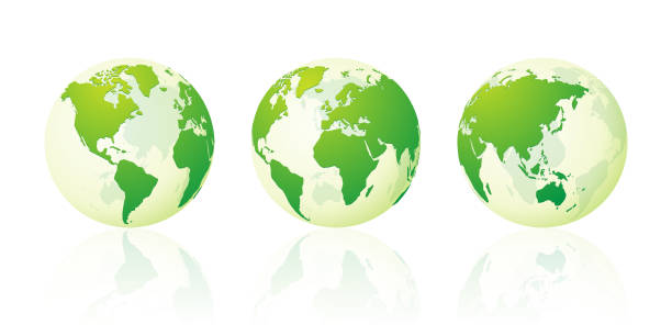 transparent world globe maps planet earth green set vector art illustration