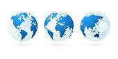 modern style transparent world globe maps planet earth green set