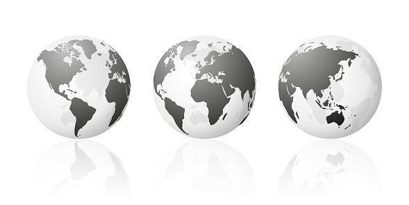 transparent world globe maps planet earth metallic silver set
