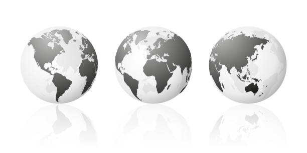stockillustraties, clipart, cartoons en iconen met transparante wereld globe kaarten planet earth metallic zilver set - planeet