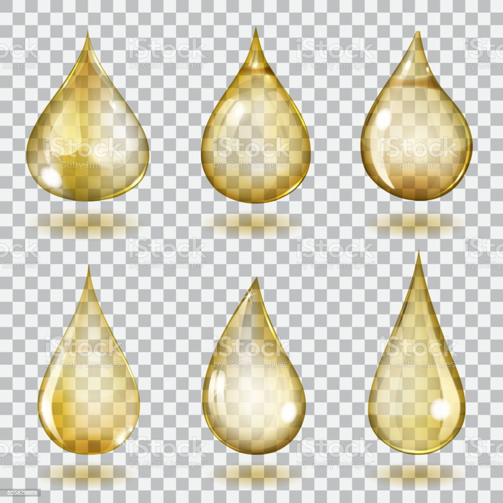 Transparent yellow drops vector art illustration