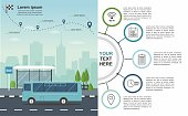 Transporation infographic Bus at the bus stop on background of city Vector illustration