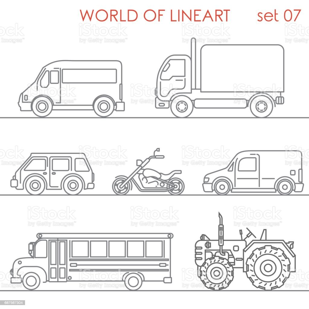 Transport aerial road moto tractor school bus graphical lineart hipster set. Line art collection. - Illustration vectorielle