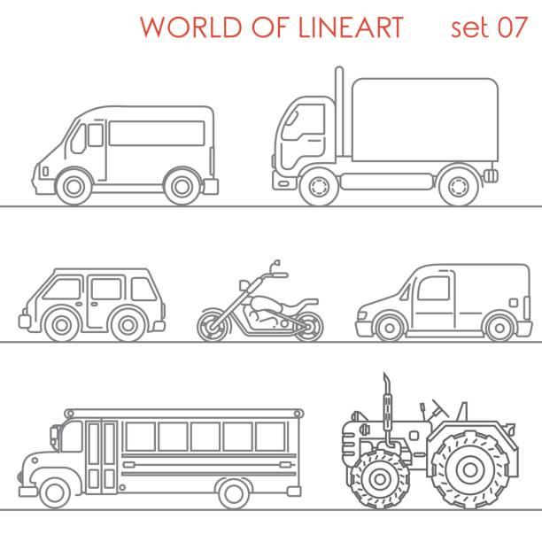 ilustrações, clipart, desenhos animados e ícones de transporte aéreo estrada moto trator escolar bus gráfico lineart hipster set. linha coleção da arte. - ônibus escolares