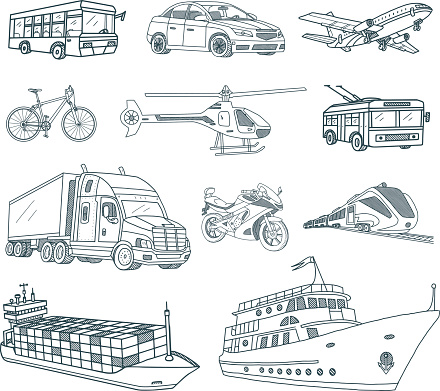 Transport and Logistics Doodles