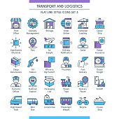 Transport and logistic icons set. Modern icons on theme delivery, packaging, navigation and transportation. Flat line design icons collection. Vector illustration