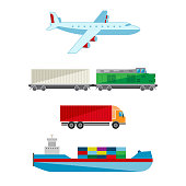Vector illustration of delivery and transportation services. Shipping by train, airplane, truck and ship.