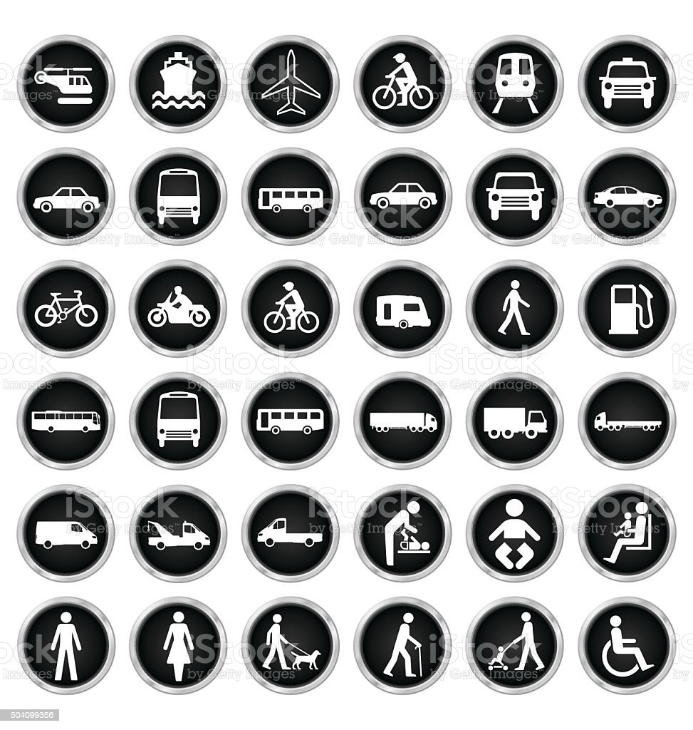 Transport and people Icon collection vector art illustration