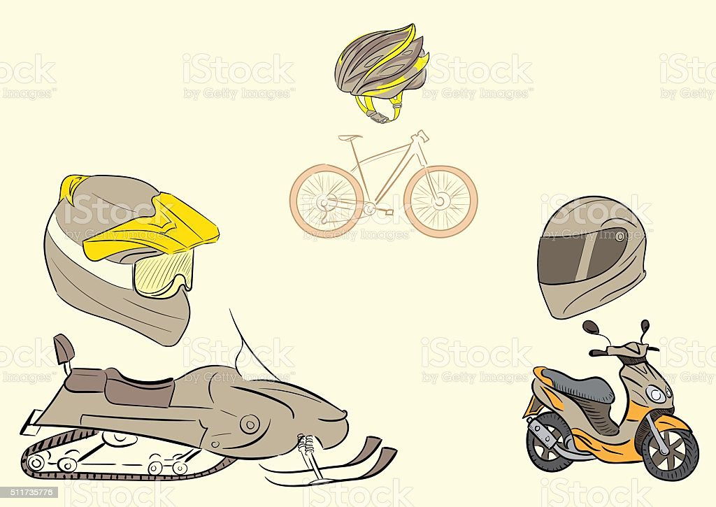 Transport and protective helmets vector art illustration