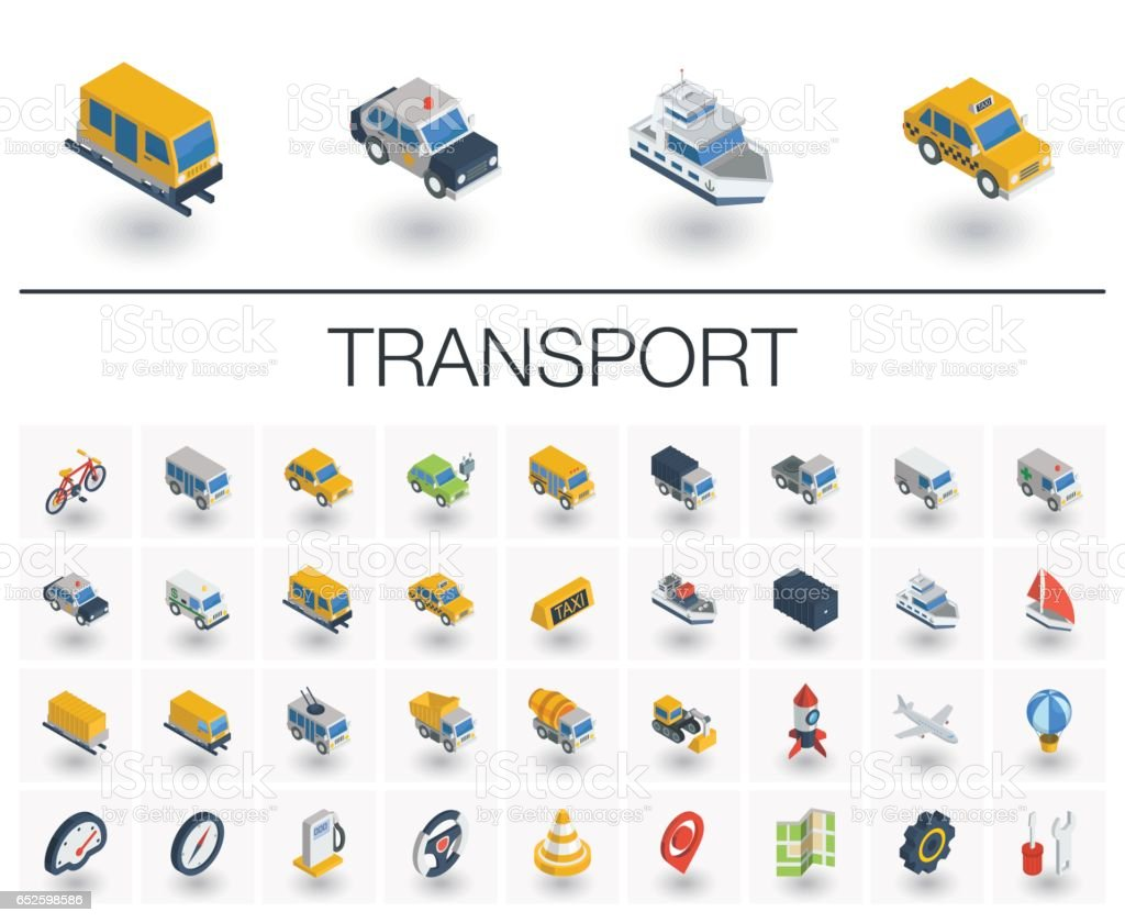 Transport and transportation isometric icons. 3d vector