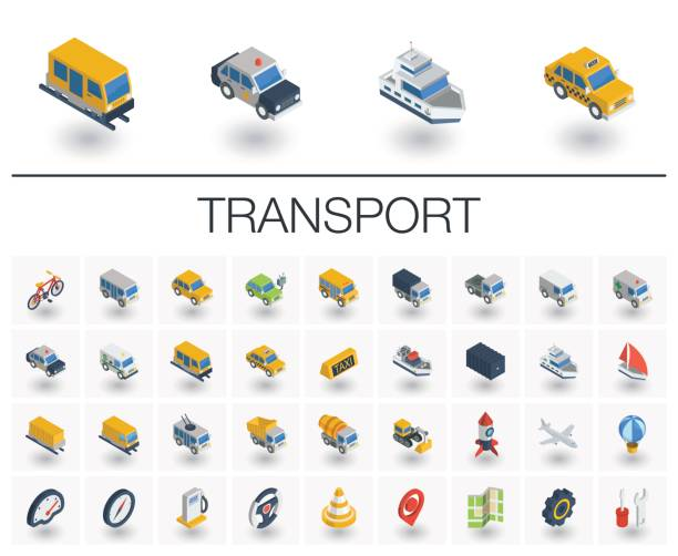 Transport and transportation isometric icons. 3d vector Isometric flat icon set. 3d vector colorful illustration with transport, transportation symbols. Police car, train, yacht, taxi, bicycle and truck colorful pictogram Isolated on white van vehicle stock illustrations