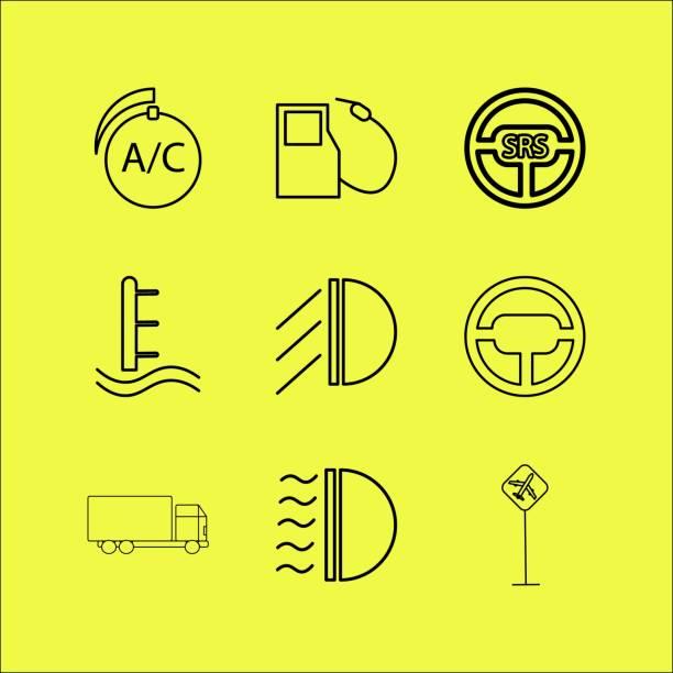 Transport And Transportation linear icon set vector art illustration
